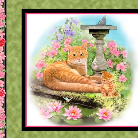 Quiltstof katoen fat quarter paneltje Fancy Felines Rood met kitten 27035