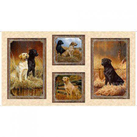 Quiltstof katoen Labrador panel 27285. Merk: Quilting Treasures