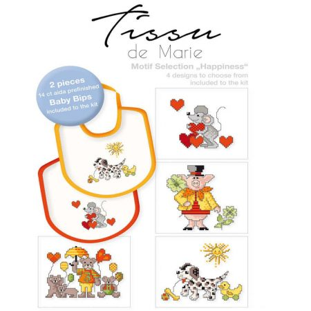 Tissu de Marie 05969 borduurpakket aida slabbetje set van 2