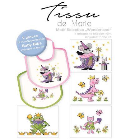 Tissu de Marie 05970 borduurpakket aida slabbetje set van 2