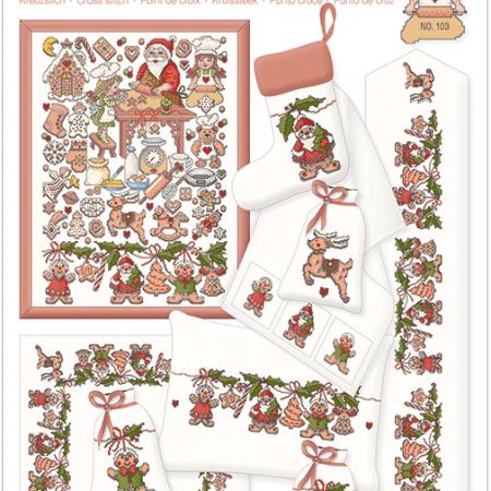 Lindner Borduurpatroon 103 Weihnachtsbäckerei. Kerstbakkerij