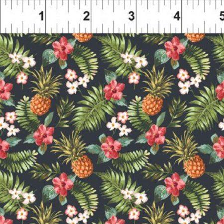 Quiltstof katoen Mini Tropicals Pineapples and Flowers