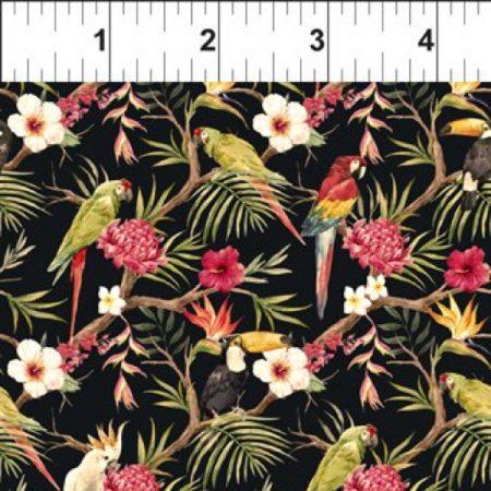 Quiltstof katoen Mini Tropicals Birds Parrot. Verkoop per 25 cm