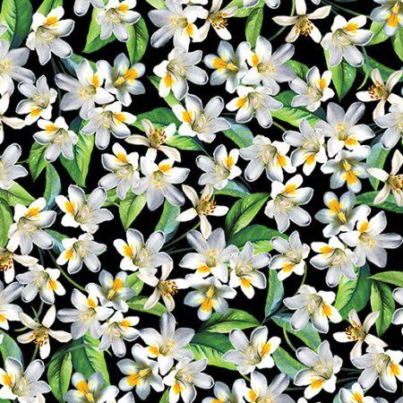 Quiltstof katoen Lemon Fresh Blossom. Verkoop per 25 cm