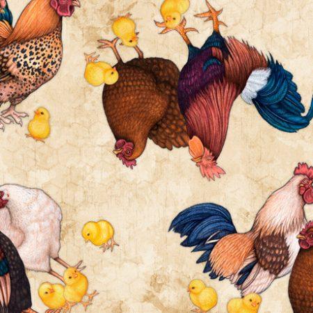 Quiltstof katoen Sunrise Farm kippen, haan en kuikens