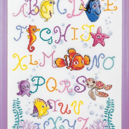 Vervaco Borduurpakket Aida ABC Nemo. Afmetingen: 35 x 45 cm