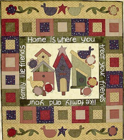 The Birdhouse Quiltpatroon Family and Friends. Ongeveer 99 x 114 cm