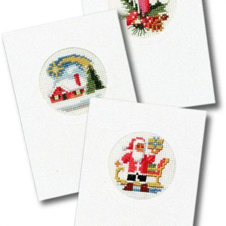 Pako Borduurpakket Aida set van 3 kerstkaarten. Afmeting: 10 x 15 cm.