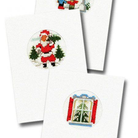 Pako Borduurpakket Aida set van 3 kerstkaarten. Afmeting: 10 x 15 cm
