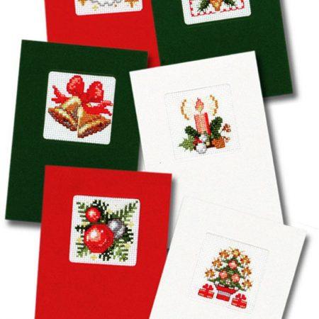 Pako Borduurpakket Aida set van 6 kerstkaarten. Afmeting: 11 x 16 cm