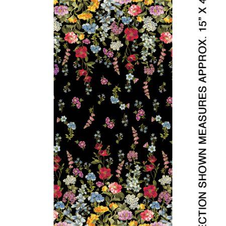 Quiltstof katoen Field of Dreams Kleurige bloemen randstof metallic