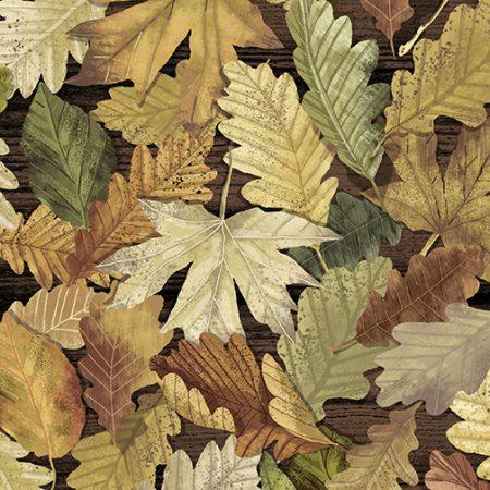 Quiltstof katoen Bruine herfst bladeren. Verkoop per 25 cm