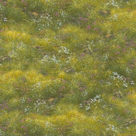 Quiltstof katoen grasland met rode en witte bloemen