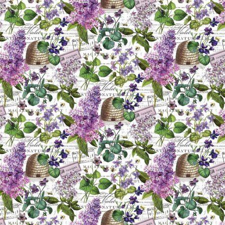 Quiltstof katoen Chelsea. Hyacinten en bijenkorf. Verkoop per 25 cm