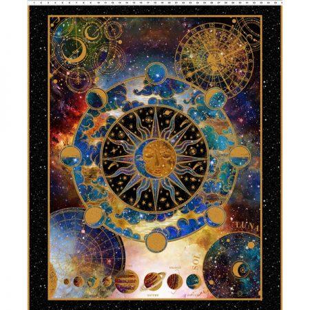 Quiltstof katoen Panel Cosmos 1 COS 1. Verkoop per panel