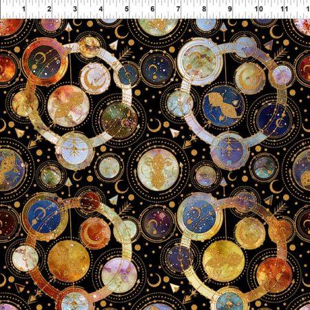 Quiltstof katoen Universum met Planetenstelsel Cosmos