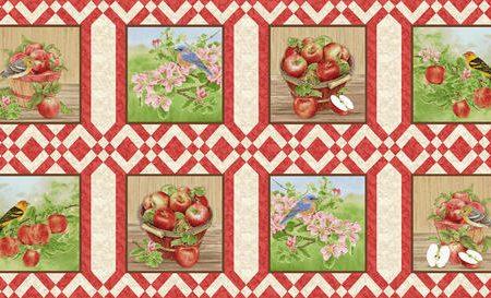 Quiltstof katoen Panel appels en vogels. Verkoop per 25 cm