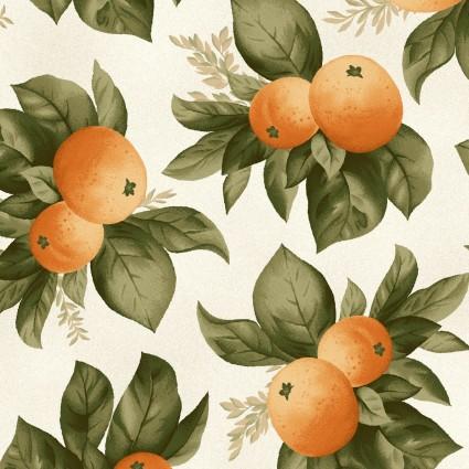 Quiltstof katoen Sinaasappelen. Verkoop per 25 cm