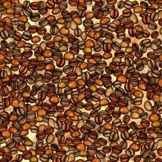 Quiltstof katoen Koffiebonen. Verkoop per 25 centimeter