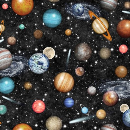 Quiltstof katoen Manen en Planeten 26744. Verkoop per 25 cm