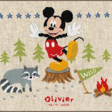 Vervaco Borduurpakket Aida Geboortetegel Disney Mickey Mouse
