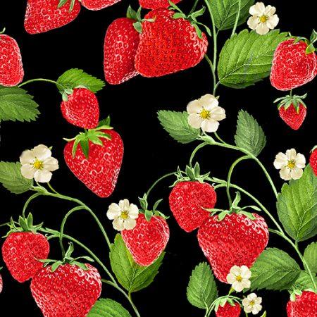Quiltstof katoen Aardbeien 09765-12. Verkoop per 25 cm