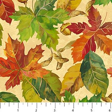 Quiltstof katoen Herfstbladeren en eikels. Verkoop per 25 cm
