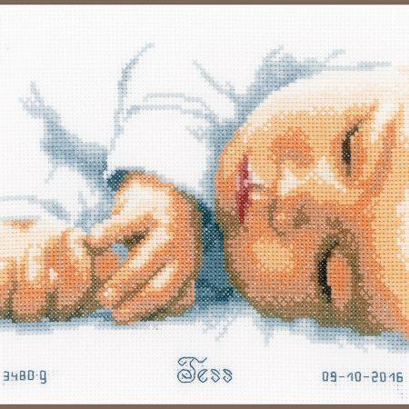 Vervaco Borduurpakket Aida Geboortetegel Pasgeborene