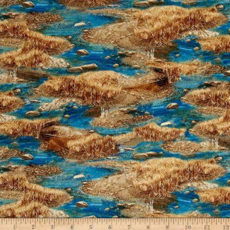 Quiltstof katoen Rieteilandjes in het water. Verkoop per 25 cm