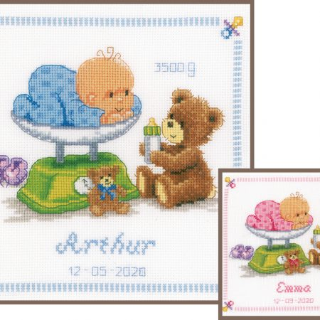 Vervaco Borduurpakket Aida Geboortetegel Baby in weegschaal