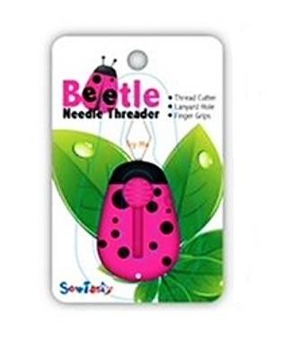 Sew Tasty Beetle Draaddoorhaler roze met led lampje en mesje