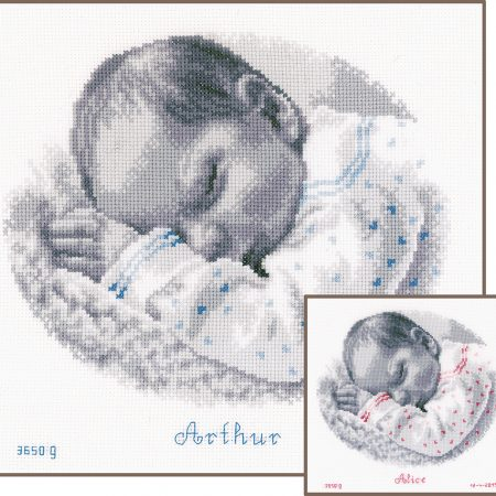 Vervaco Borduurpakket Aida Geboortetegel Slapende baby