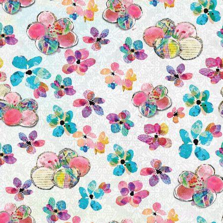 Quiltstof katoen Fleurige bloemen 13789. Verkoop per 25 cm