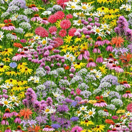 Quiltstof katoen Fleurig bloemenveld. Verkoop per 25 cm