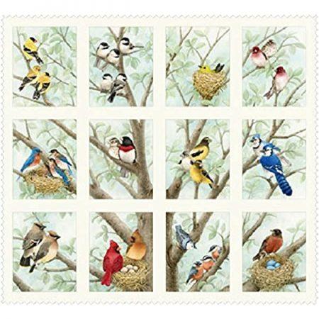 Quiltstof katoen Paneltjes met vogels. Verkoop per 25 cm