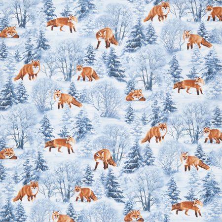 Quiltstof katoen Vosjes in winterlandschap. Verkoop per 25 cm
