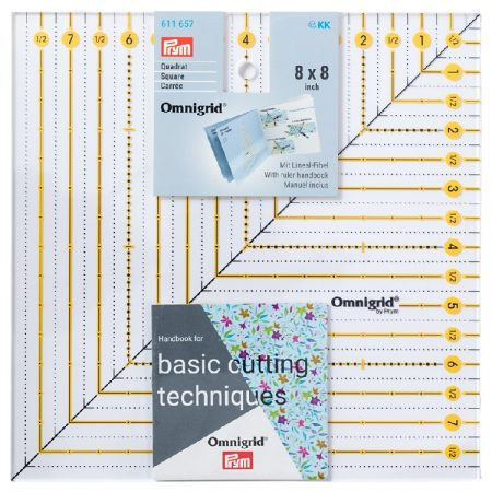 Prym 611657 Omnigrid liniaal 8 x 8 inch. Afmetingen: 8 x 8 inch