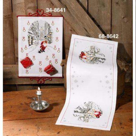 Permin kerst tafelloper aida. Afmetingen van de tafelloper zijn: 34 x 87 cm