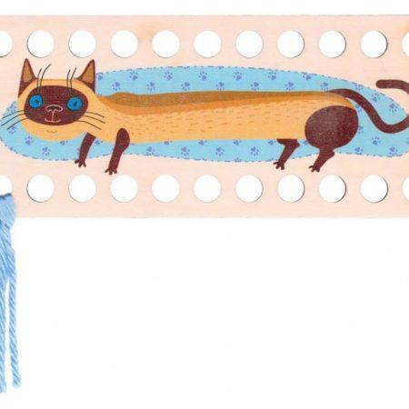 RTO Borduurgarenhouder rechthoek bruine kat. Opdruk lopende bruine kat