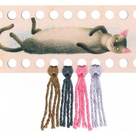 RTO Borduurgarenhouder rechthoek grijze kat. Afmeting: 22 x 9 cm
