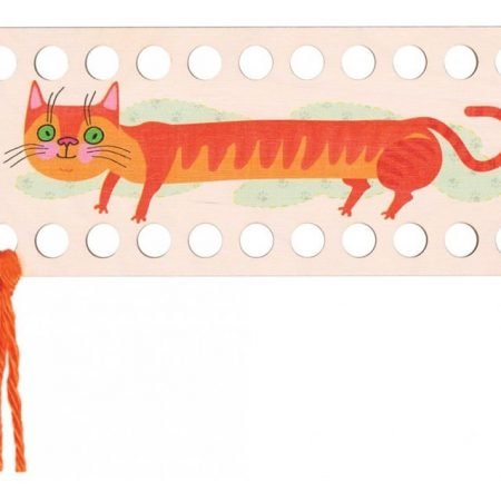 RTO Borduurgarenhouder rechthoek rode kat. Afmeting: 22 x 9 cm.