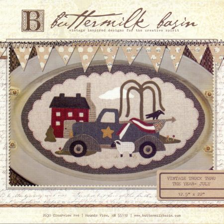Buttermilk Basin Quiltpatroon Vintage trucks juli. Mooi quiltpatroon
