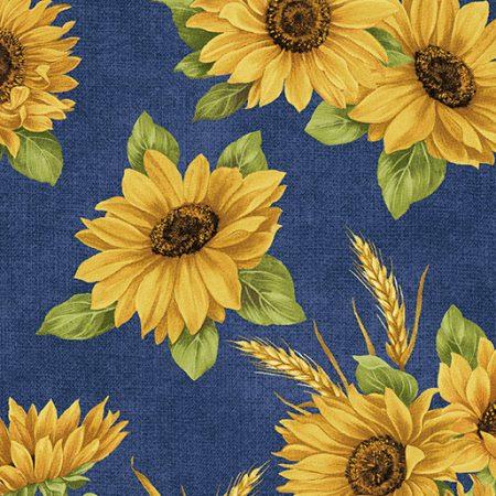 Quiltstof katoen Accent on Sunflowers. Verkoop per 25 cm