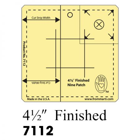 Marti Michell 7112 Nine Patch Ruler 4,5 inch. Gemaakt van sterk acryl