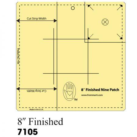 Met deze liniaal kunt u een 9 patch block maken met een afmeting van van 8 inch.