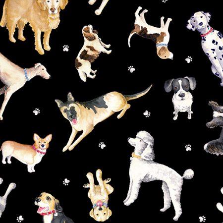 Merk: Kanvas Studio. Serie: Think Pawsitive. Faithful Friends. Diverse hondenrassen. Soort stof: 100% katoen. Kleur: Zwarte basis. Stofcode: 09730. Breedte van de stof: 114 cm.