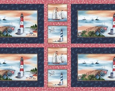 Quiltstof katoen By the Sea placemat panel DCX9106
