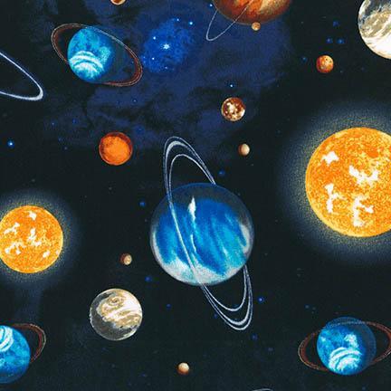 Quiltstof katoen Manen en Planeten 14606-11