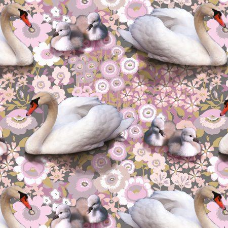 Quiltstof katoen Zwanen en baby zwaantjes op roze bloemenbed Q008