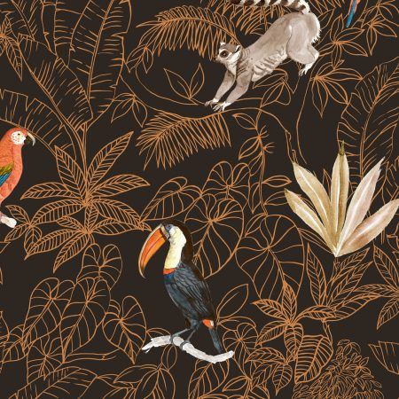 Quiltstof katoen Ringstaartmaki, papegaai, toekan en andere vogels A452